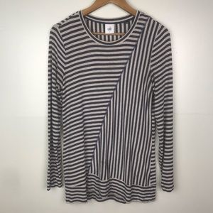 CABI Striped Knit Top Long Sleeve Blue White Small